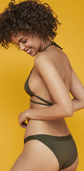 Parte de arriba de bikini triangular caqui sahariz green.