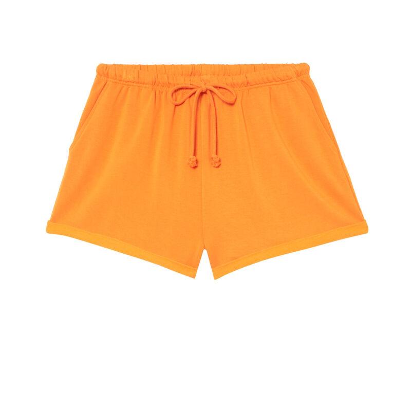 Shorts lisos con detalle de cordón - naranja;