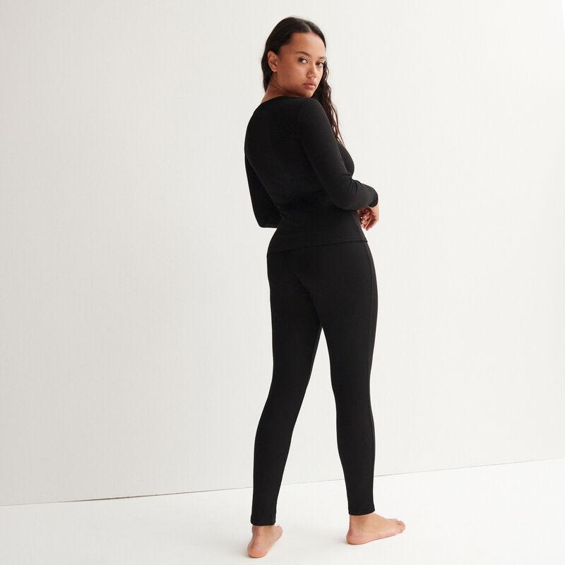 leggings acanalados moteados - negro;