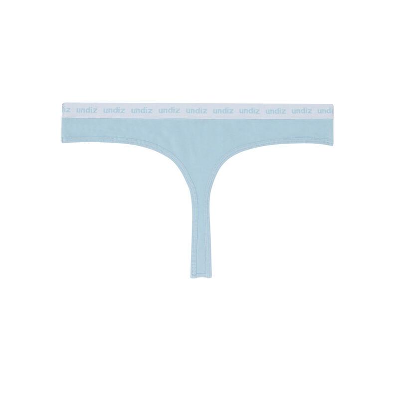 braguita tanga de algodón con detalle elástico - azul;