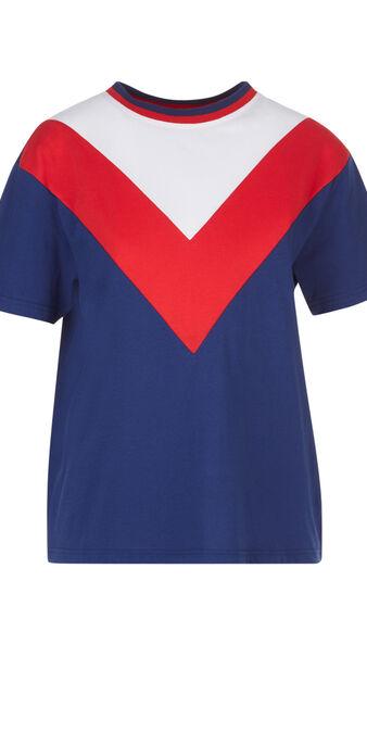 Top azul, blanco y rojo de echitiz blue.