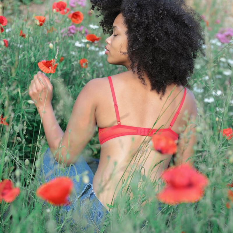 sujetador push-up de encaje con flores - rojo;