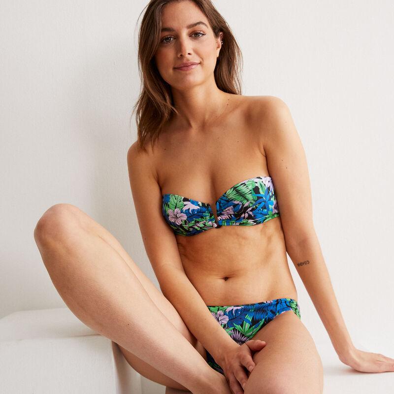 Parte de arriba de bikini bandeau con estampado tropical - negro;