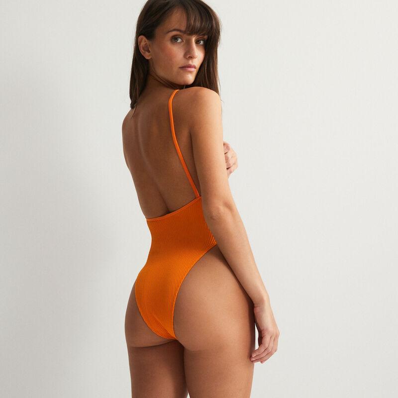 body de talle alto con escote y espalda abierta - naranja;