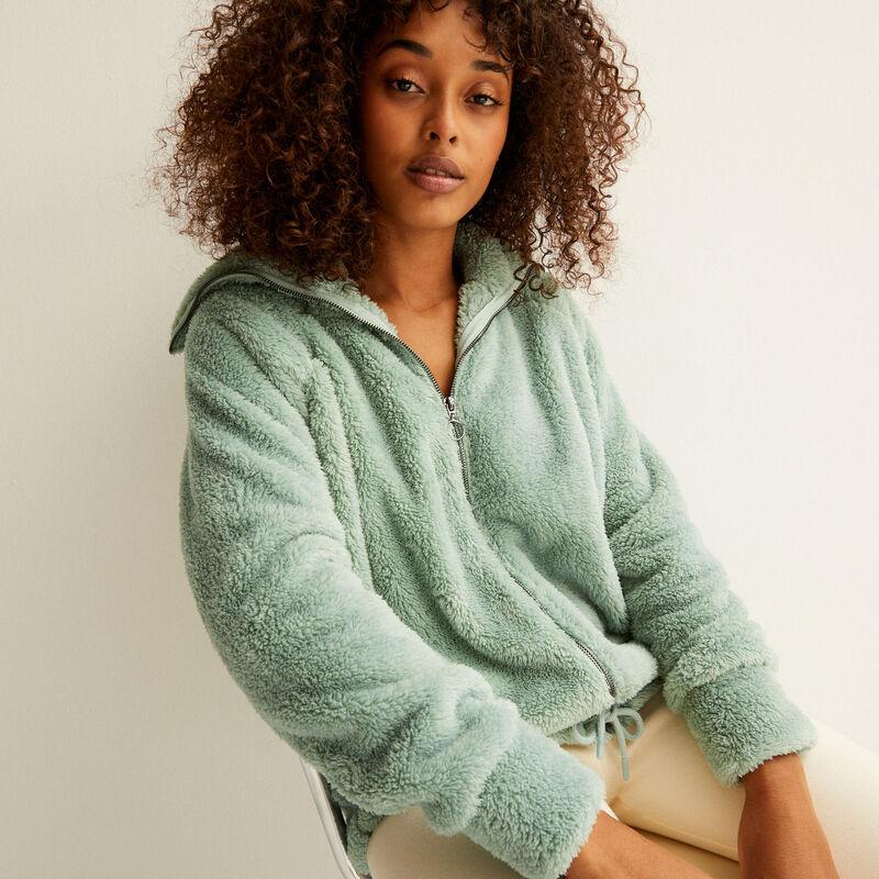 chaqueta polar con cremallera - verde agua;
