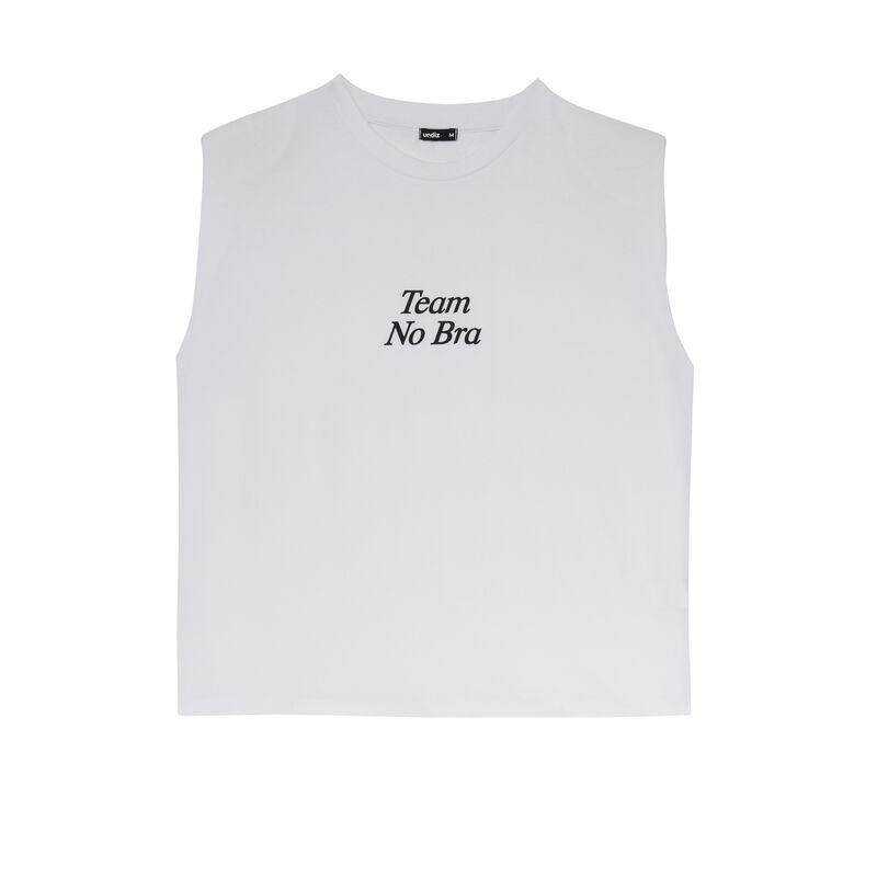 top con mensaje y hombros estructurados - blanco;