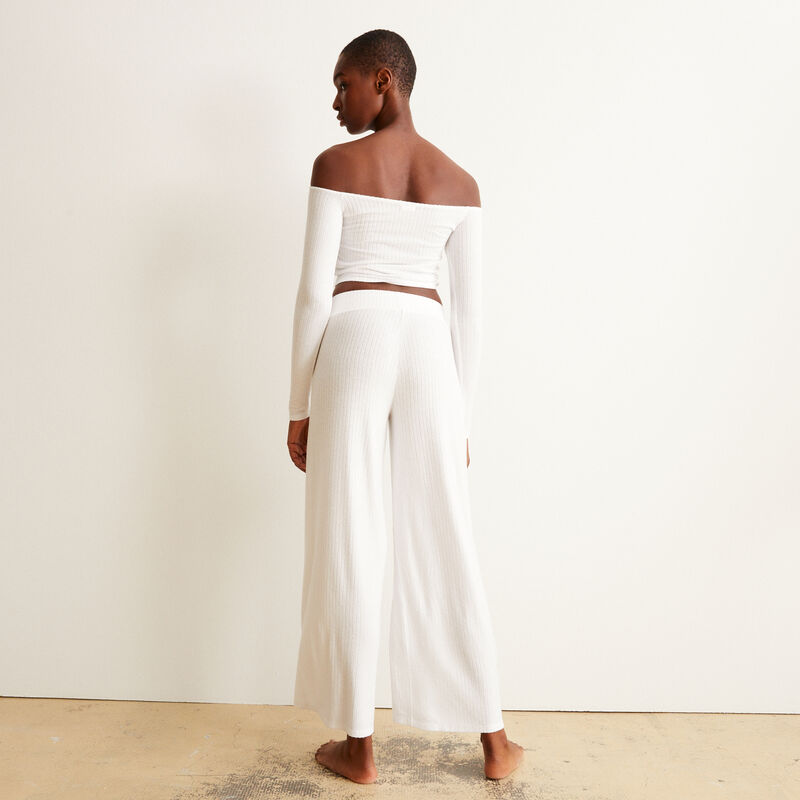 pantalón de malla con cintura elástica - crudo;