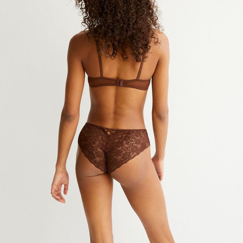 Braguita culotte de encaje de flores - marrón;