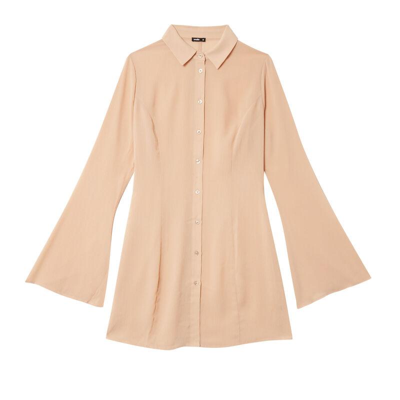 vestido camisero ceñido de satén - beige;
