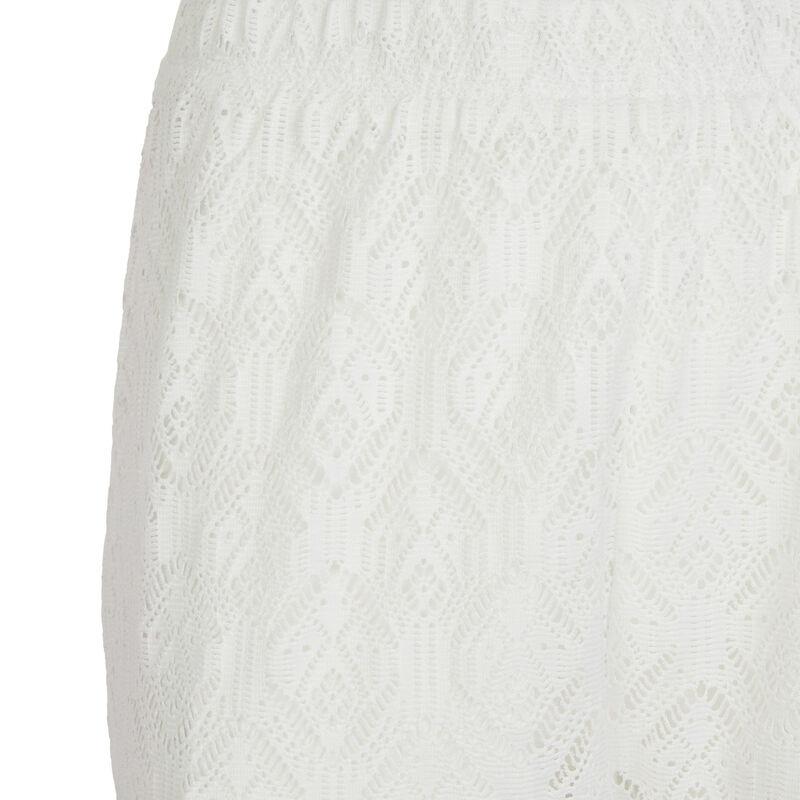 Pantalón ancho elástico en la cintura - blanco;