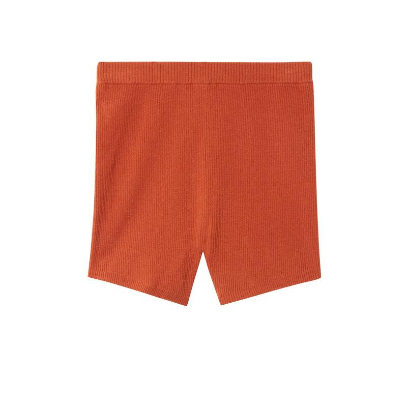 short de cintura alta de punto - cámel;