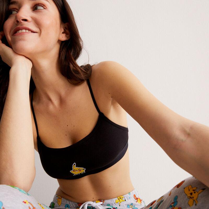 sujetador con estampado Pikachu y detalles de lazos - negro;