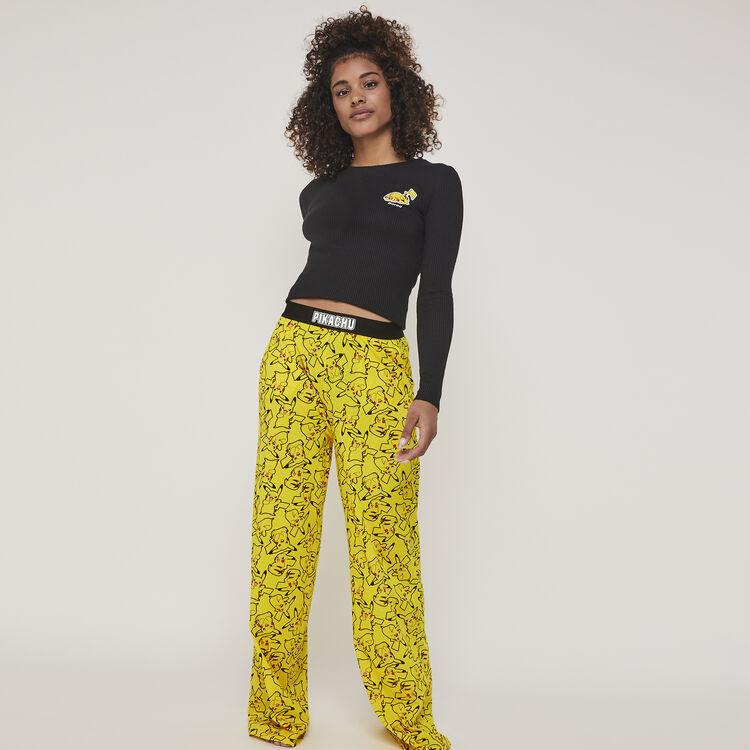 Pantalón de punto con estampado pikachu pikaballiz;