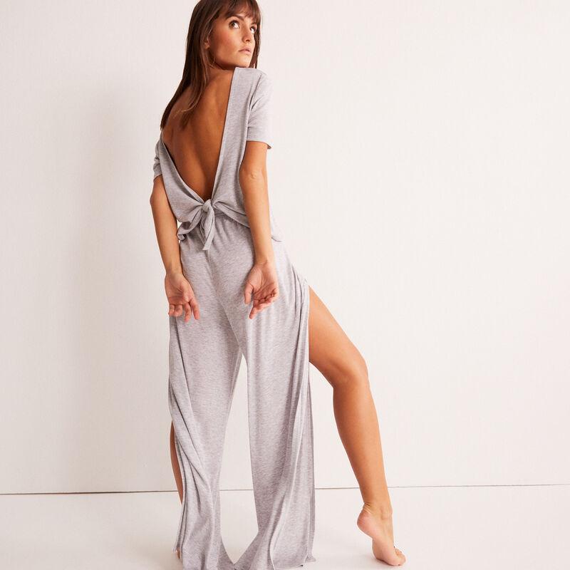 Pantalón ancho con apertura - gris;